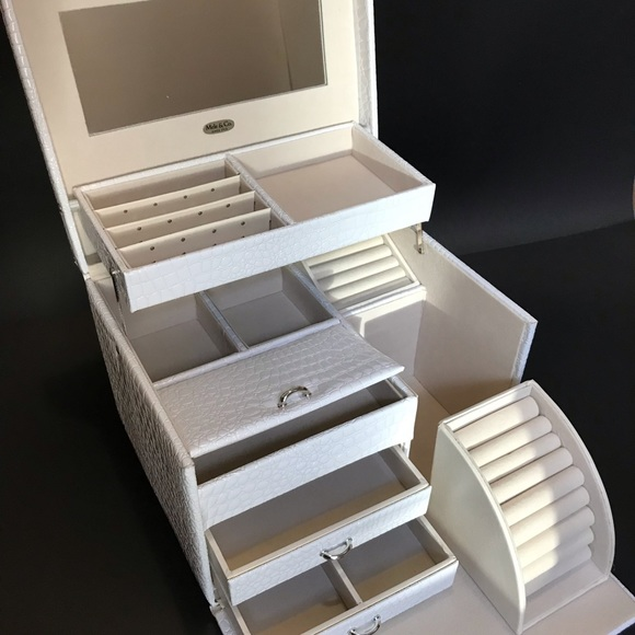 Mele & Co Croc Embossed Jewelry Box White